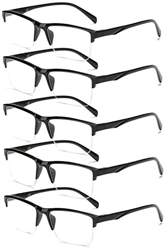 VEVESMUNDO Gafas de Lectura Medio Marco Hombre Mujer Moderno Grande Vista Leer Presbicia Graduadas Trabajo 0 0.25 0.5 0.75 1.0 1.25 1.5 1.75 2.0 2.25 2.5 2.75 3.0 3.25 3.5 3.75 4.0 (2.0, 5 Gafas)