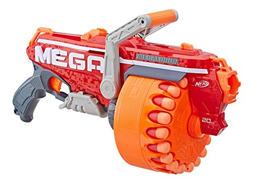 Nerf Mega Megalodon Blaster, 20-Dart Rotating Drum, 20 Official Nerf Mega Whistler Darts, Slam Fire Action, For Kids Ages 8 And Up