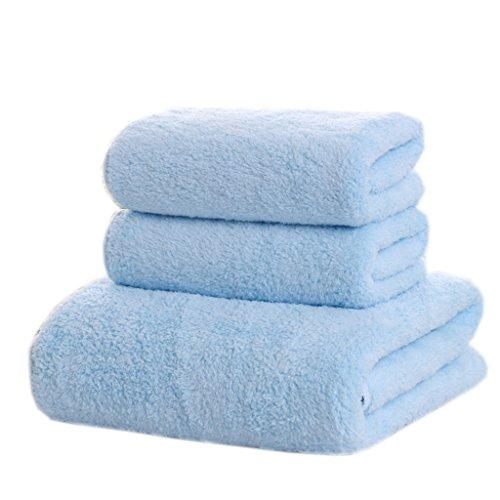 Serviettes de bain en microfibre de serviette de corail de velours (1 serviette de bain + 2 serviettes) ( Couleur : Bleu )