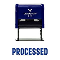 """Impression Size: 3/4"""" x 1-7/8"""" Provides thousands of impressions Transparent bottom allow for precise stamp alignment Prints in Blue Ink Re-inkable stamp"""