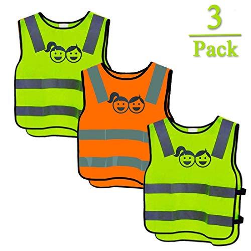 jeeri 3 Pack Sicherheitsweste Kinder, Warnwesten Kinder 360 Grad Reflektierende Sicherheitsweste Gelb, Universal Größe Schutz für Jungs Mädchen