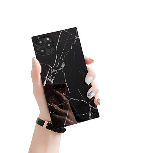 """Cocomii Square Marble iPhone 12/12 Pro Case, Slim Thin Glossy Soft Flexible TPU Silicone Rubber Gel Trunk Box Square Edges Fashion Bumper Cover Compatible with Apple iPhone 12/12 Pro 6.1"""" (Black)"""