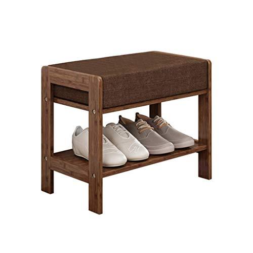 HLL Banco de Zapatos de Madera Pasillo de Almacenamiento 2 Niveles Zapatero Otomano de Bambú Cambio de Banco de Zapatos con Cojín de Asiento Suave Marrón,50Cm