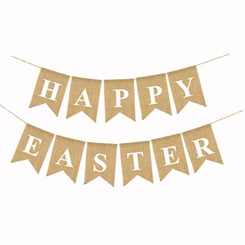 Happy Easter - Guirnalda de yute vintage para Pascua, decoración de fiestas de Pascua