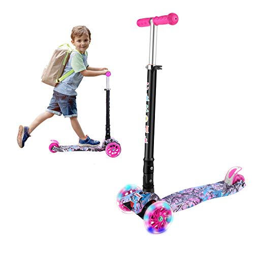 CAROMA Kinderroller 3 Räder Faltbar Kinderscooter Jungen und Mädchen für Kinder Roller ab 3-14 Jahre mit 3 LED PU Laufrad, Verstellbare Lenker (Rosa)