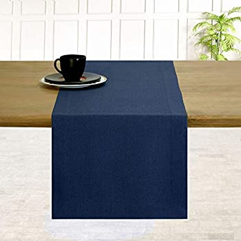 D Moksha Homes 100% Pure Linen Hemmed Table Runner - 14 x 60 Inch Navy Blue Premium Natural Fabric European Flax Machine Washable Handcrafted Dresser Scarf Mitered Corners Great Gift Choice