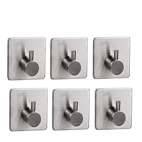 LB trading autoadesivo ganci in acciaio INOX resistente impermeabile rotonda gancio per ganci singoli per bagno cucina Lavatory Closets 6confezione