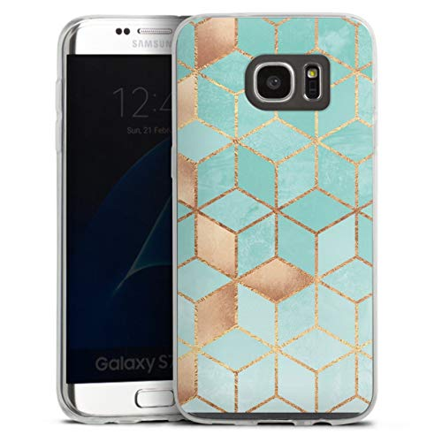 DeinDesign Custodia sottilissima Compatibile con Samsung Galaxy S7 Edge Custodia per Cellulare di Silicone Trasparente Cover Semplice Cubo Disegno a Quadri Elisabeth Fredriksson