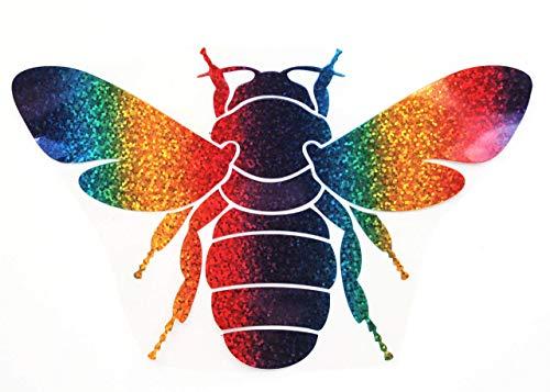 Bügelbild, Motiv: Biene, Größe: 20x12,5cm, Farbe: regenbogen, Material: heißsiegelfähige Flexfolie