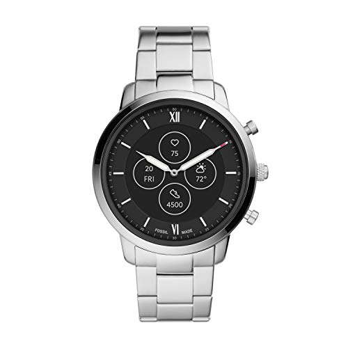 Fossil Men's 45mm Neutra Stainless Steel Hybrid HR Smart Watch, Color: Silver (Model: FTW7029)