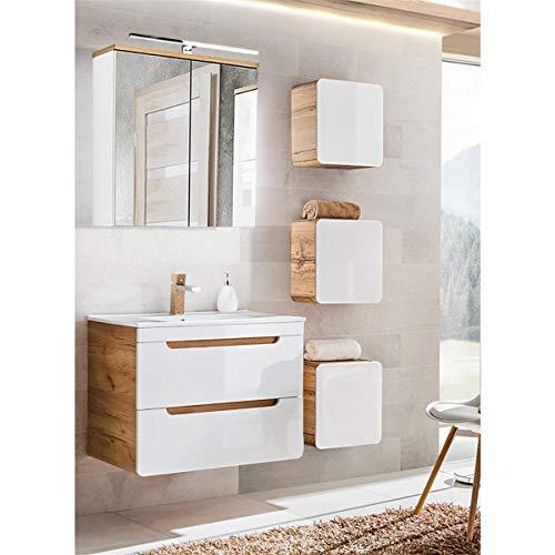 Lomadox Komplett Badmöbel Set mit 80cm Waschtisch inkl. Keramikbecken, Wotaneiche & Hochglanz weiß, inkl. LED-Spiegelschrank & 3 Hängeschränke
