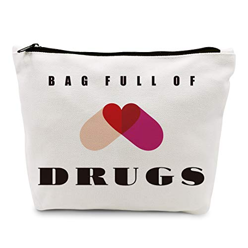 Ihopes Funny Pill Medicine Drug Bag Pill Cotton Zipper Pouch Bags   Full of Drugs Pill Case Organizer Makeup Cosmetic Travel Bag Toiletry Case Multifunction Pouch Gifts for Patient Women Girls Friend