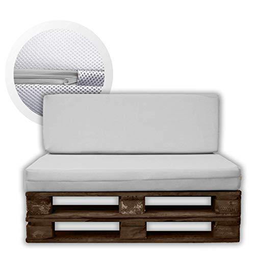 MICAMAMELLAMA Pack Ahorro Asiento + Respaldo Cojines para palets Sofa de Palets Exterior e Interior - Funda Blanca 3D - Espuma HR Alta Densidad - Grosor 12cm - Euro palets