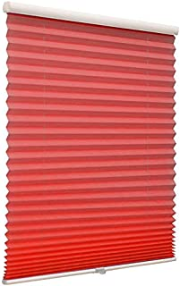 Cordless Pleated Window Shades, Free Stop Custom Made Any Size from 20-78inch Wide Light Filtering UV Protection Red Window Blinds, 20