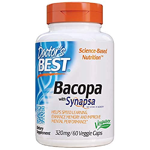Doctor's Best Bacopa with Synapsa, Brain, Enhances Memory, Antioxidant, Non-GMO, Vegan, Gluten Free, Soy Free, 320 mg, 60 VC (DRB-00454)