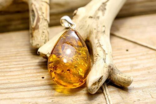 Ciondolo di ambra baltica naturale 100% con argento