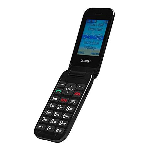 Denver BAS-24200M Teléfono móvil con Tapa para Personas Mayores, Dual SIM, Dualband gsm 900/1800, Pantalla a Color de 2,4' y cámara