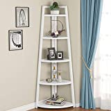 Tribesigns 70 inch Tall Corner Shelf, 5 Tier Modern Corner Bookshelf Industrial Corner Ladder Shelf Small Bookcase Plant Stand for Living Room, Kitchen, Home Office (White)