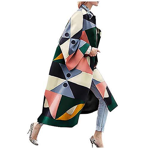 Janly Clearance Sale Abrigo para mujer, moda para mujer, chaqueta de bolsillo impresa, chaqueta de abrigo, abrigo largo, geometría impresa para Navidad (Rosa-XL)