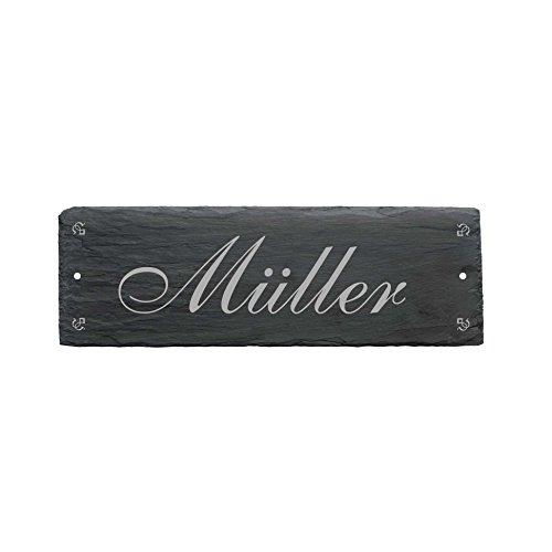 Wetterfestes Schild MÜLLER/WUNSCHNAME aus Schiefer - ca. 22 x 8 cm - Türschild