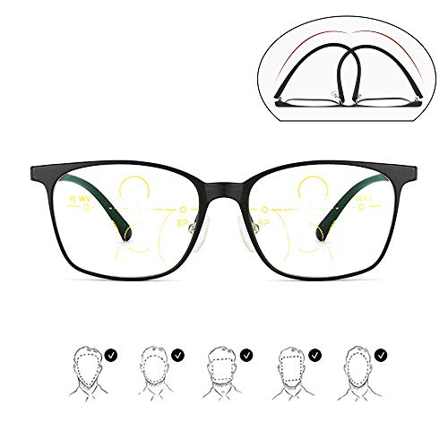 MANG Deutsch Smart Zoom Lesebrille Herren Multifokale Gleitsichtbrille Anti Blue Light Sehhilfe Ultraleichtem TR90 Rahmen, Anti Müdigkeit