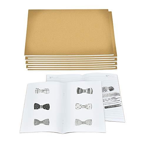 KBNIAN Libreta Kraft, 10 Cuaderno A5 con Tapa de Kraft Blanda, 5 Libreta A5 Hojas Blancas + 5 Cuadernos Rayados Cuaderno Escritura de 30 Hojas para Dibujo Tomar Nota Diario Estudiante Profesor