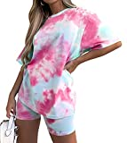 2 Piece Casual Shorts Outfits for Women - Tie Dye Set Lounge Wear Outfits Short Sleeve Loose T Shirt and Biker Short Set