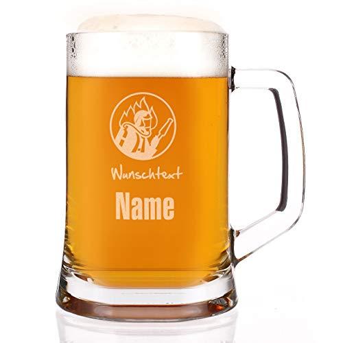 Herz & Heim® Bierkrug mit Gravur des Namens für Feuerwehrmänner, Jäger, Fußballer, Biker und Angler Feuerwehr