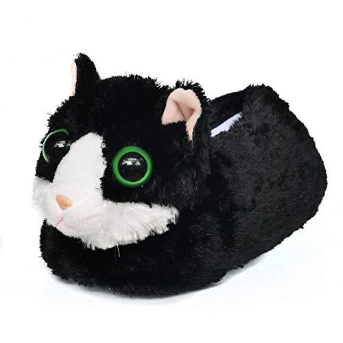 [Onmygogo] 大人のためのファジーぬいぐるみ猫のスリッパ 女性の男性のための冬の室内スリッパ 暖かい 快適 ノンスリップ (ブラック, 23cm-25cm)