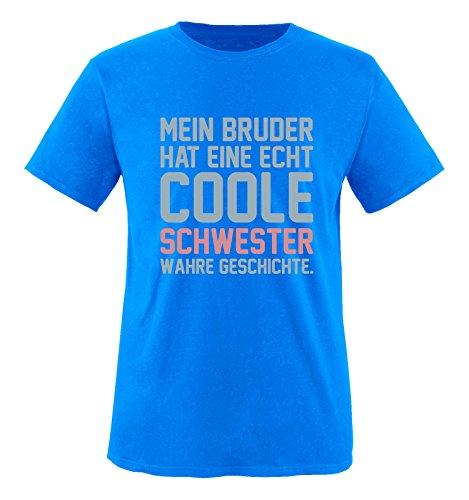 Comedy Shirts - Mein Bruder hat eine echt Coole Schwester wahre Geschichte. - Mädchen T-Shirt - Royalblau/Eisblau-Rosa Gr. 110/116