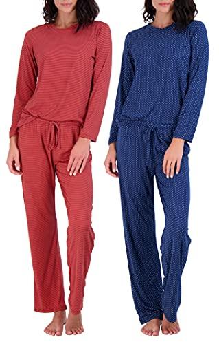 2 Pack: Womens Long Sleeve AOP Striped Pajama Sets Ladies Soft Winter Fall Sleepwear Pajamas Clothes Loungewear Long Sleeve Tops Pants Christmas Pj Sets for Women - Set 2 Large