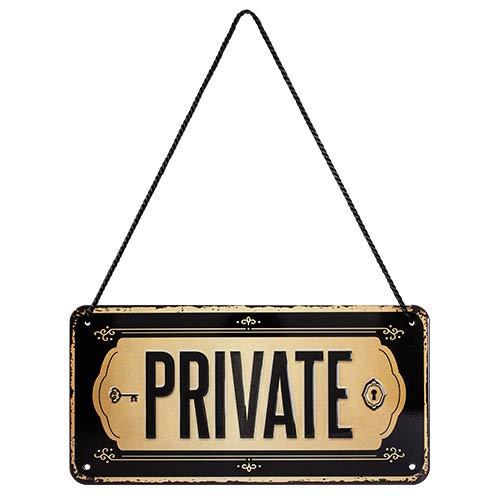 Nostalgic-Art Retro Hängeschild Achtung – Private – Türschild als Geschenk-Idee, aus Metall, Vintage-Design zur Dekoration, 10 x 20 cm