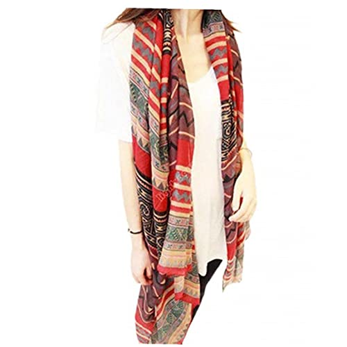 Sraeriot Mujeres Bohemia Voile Seda Bufanda Envolver Bufanda Larga Shaw Scarfs Soft Robo para Damas, Mujeres, Niñas Red Redding Y Accesorios, Toallas De Cama Y Bufandas