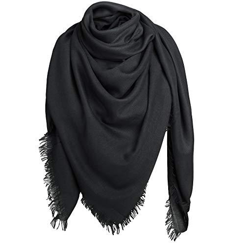 Alleza Damen Schal Schultertuch Quadratischer Deckenschal Halstuch Scarf mit Fransen 2 Größen nach Wahl (Schwarz, 140 * 140 cm)