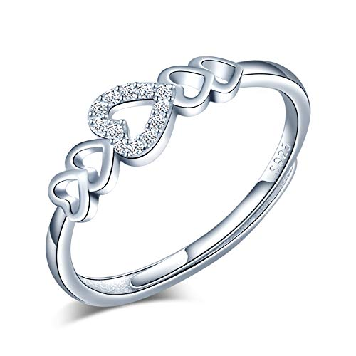 Yumilok Anillo de plata 925, anillo ajustable para mujer y niña, anillo de compromiso abierto, elegante anillo de corazón, circonita cúbica con incrustaciones, tamaño ajustable