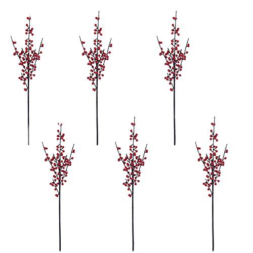 HYLOOD 6 tallos artificiales de bayas rojas, bayas de acebo artificiales de Navidad, decoración de árbol de Navidad, manualidades para el hogar, árbol de Navidad, decoración de fiestas