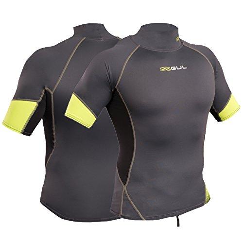 Gul Xola UV50 I-Flex - Rash Vest da uomo a maniche corte, Graphite/Lime, S-petto circa 86,5-91,5 cm