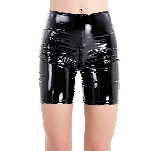inlzdz Women's Wet Look Liquid Latex Rubber Knee Length Zipper Crotch Tight Leggings Short Pants Black X-Large
