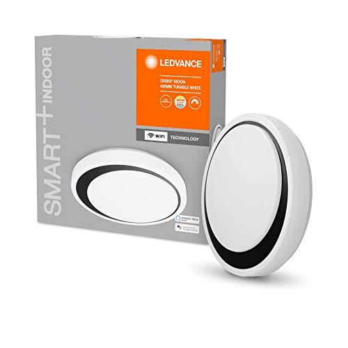 LEDVANCE Aplique y plafón LED inteligente para uso en interiores con tecnología WiFi, color de luz cambiante (3000K-6500K), negro, 480mm, compatible con Google y Alexa Voice Control, SMART+ WIFI ORBIS