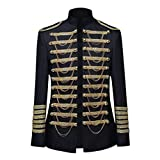Herren Mittelalter Kostüm Steampunk Gothic Mantel Jacke Court Costumes Uniforms Offizier Parade Jacket Militär Marching Band Drummer Kurze Coat