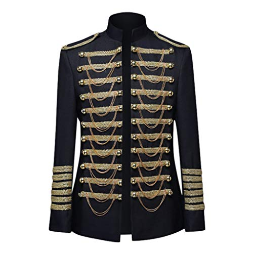 Sannysis Herren Massimo Military Blazer Slim fit Steampunk Brokat Jacke Mantel Frack Viktorianische Vintage Langarm Stehkragen Smoking Gothic Gehrock Uniform Kostüm Outwear