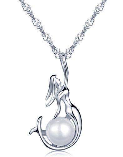 Unendlich U Fahion Meerjungfrau Wassernixe Seejungfrau Damen Halskette 925 Sterling Silber Perle Anhänger Kette mit Anhänger, Silber