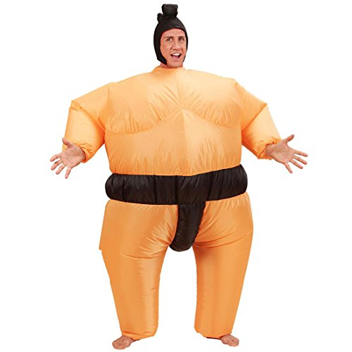 NET TOYS Sumoringer Kostüm aufblasbar Sumo Anzug hautfarbend Aufblasbares Sumo Ringer Kostüm Sumoringer Anzug Japaner