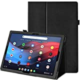 Poetic Slimfolio Series Designed for Google Pixel Slate 12.3 Inch Case, Premium Slim Synthetic Leather Flip Stand Cover with Stylus Loop, Auto Sleep/Wake, Magnetic Closure, Black