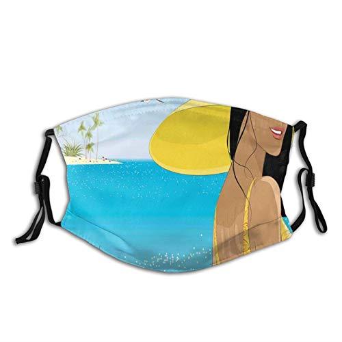 Máscara antipolvo para adultos, diseño de una mujer joven en sombrero amarillo con amapolas en la costa del mar tropical en verano, lavable y reutilizable