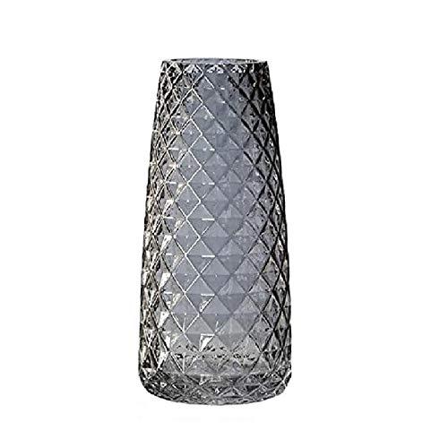 Zunbo Jarrón para flores de cristal, altura 22 cm, jarrón decorativo moderno semitransparente, gris, jarrón de decoración para oficina, casa, mesa, textura de piña