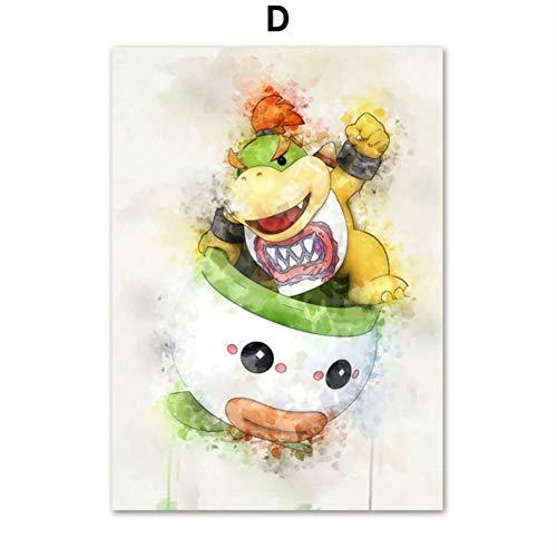 Japans Anime-spel Super Mario Bros Bowser Yoshi Cartoon muurkunst canvas schilderij affiches en prints wandafbeeldingen baby kinderkamer decoratie 40*50 cm 4