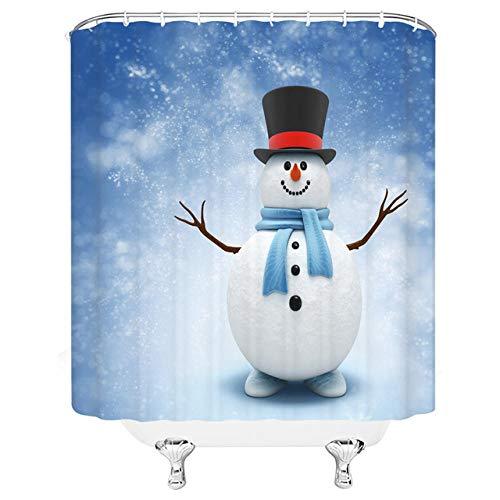 N / A Hochwertige Happy Christmas Duschvorhänge Lustige Cartoon Schneemann Ski Winter Schneeszene Neujahrsfeiertag Weihnachten Bad Dekor Stoff Vorhang-B90cmxH180cm