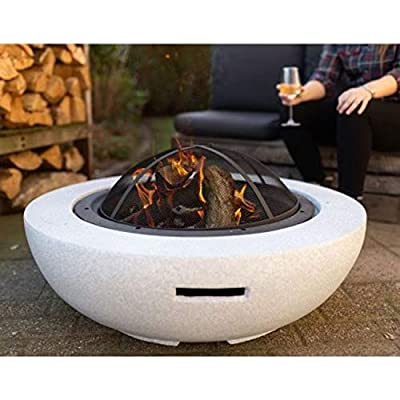 GardenCo MgO Round Fire Pit - Outdoor Firepit for Garden and Patio - Wood and Charcoal Burner - with Spark Guard by GardenCo