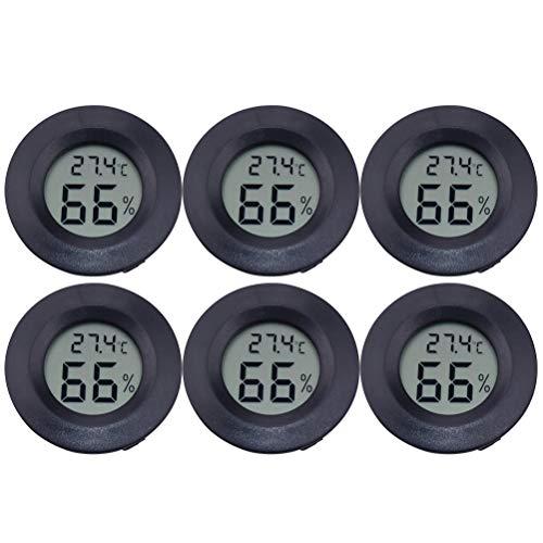 ledmomo LCD デジタル湿度計 6個セット円形 アクリル 爬虫類 ペット温度計 高温 低温 高精度 デジタル 爬虫類テラリウム